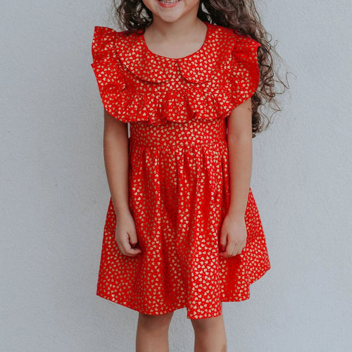 little girls red and gold heart valentine's day dress