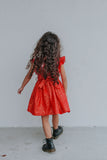little girls red and gold hearts valentine's day dress