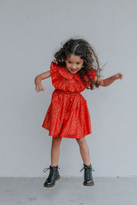 little girl's red and gold heart valentine's day dress