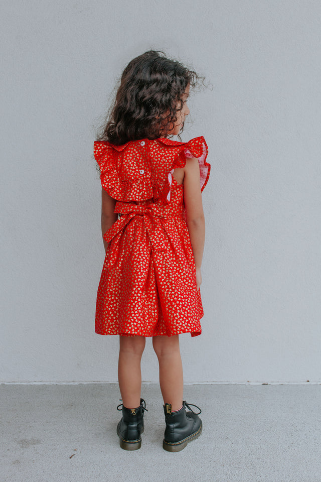 Little Girls Red & Gold Hearts Ruffle Dress