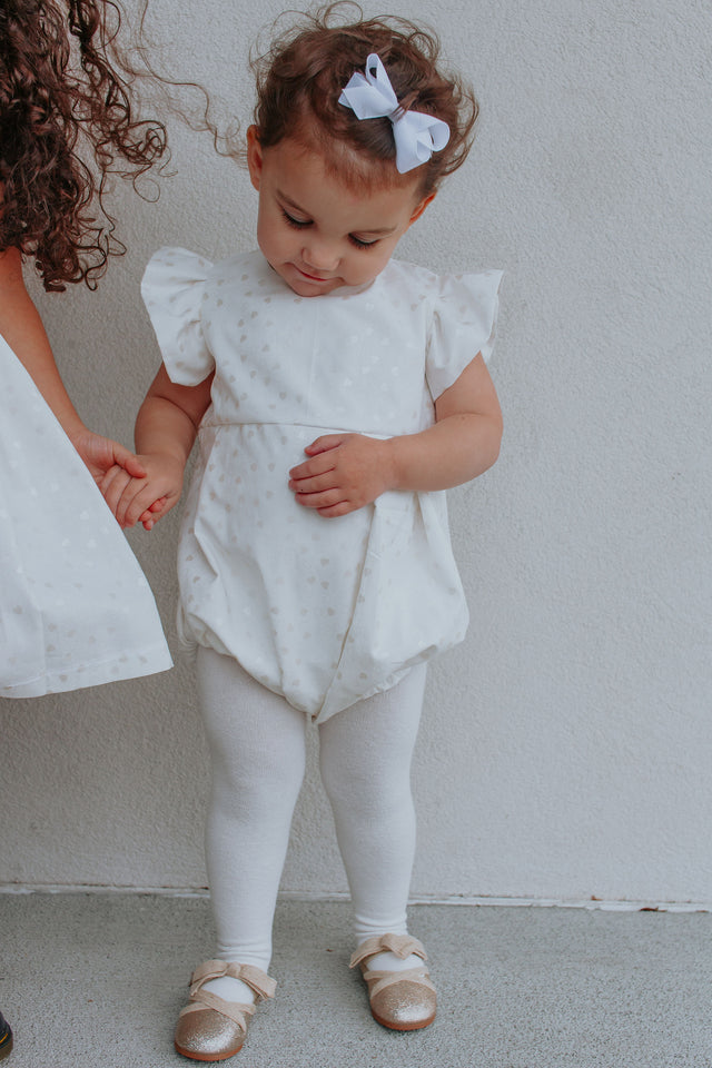 Infant Girls White & Silver Hearts Bubble Romper