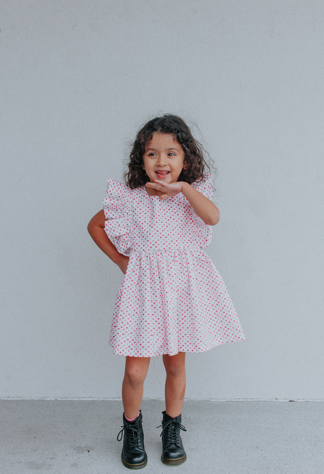 Little Girls Red, White & Pink Hearts Ruffle Dress