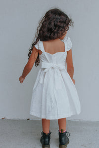 Little Girls White & Silver Hearts Ruffle Dress