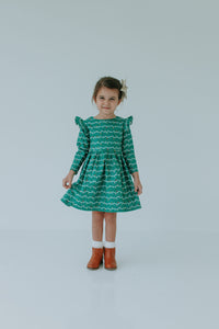 little girl's green Christmas dress