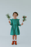 Girl's Green Christmas Lights Cotton Dress