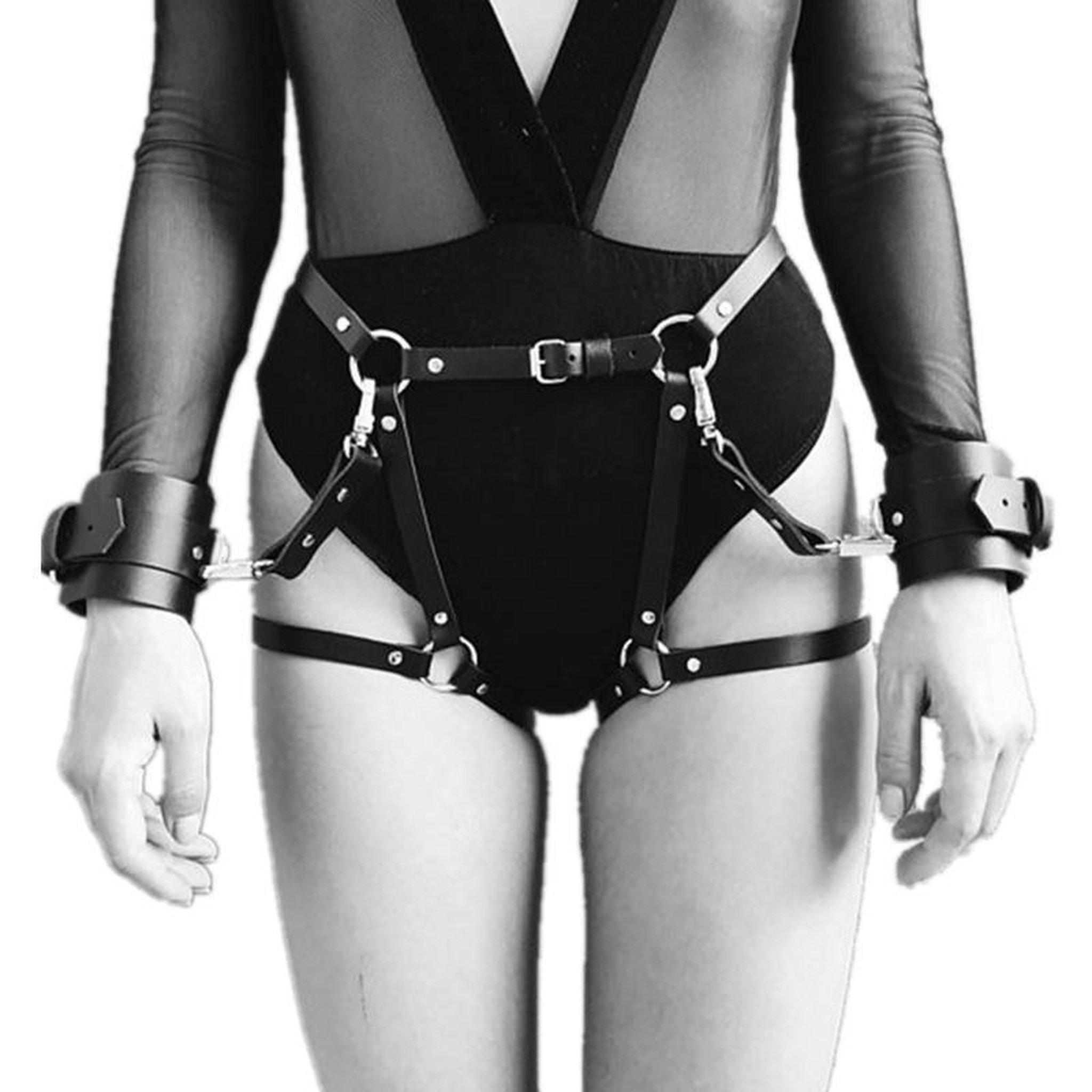 Adjustable Leather Garter Belt with Wrist Cuffs-Good Girl xox-buy-bdsm-bondage-gear-tools-toys-online-good-girl-xox