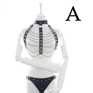 Bondage Body Harness with Metal Chain Top and Thong-Good Girl xox-A-buy-bdsm-bondage-gear-tools-toys-online-good-girl-xox