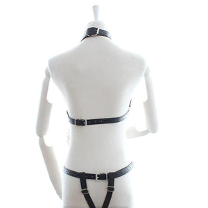 Bondage Body Harness with Metal Chain Top and Thong-Good Girl xox-C-buy-bdsm-bondage-gear-tools-toys-online-good-girl-xox