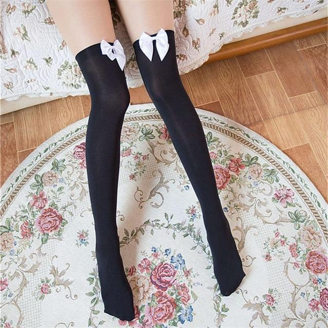 Sexy Bow Thigh High Stockings-Good Girl xox-Black White-buy-bdsm-bondage-gear-tools-toys-online-good-girl-xox