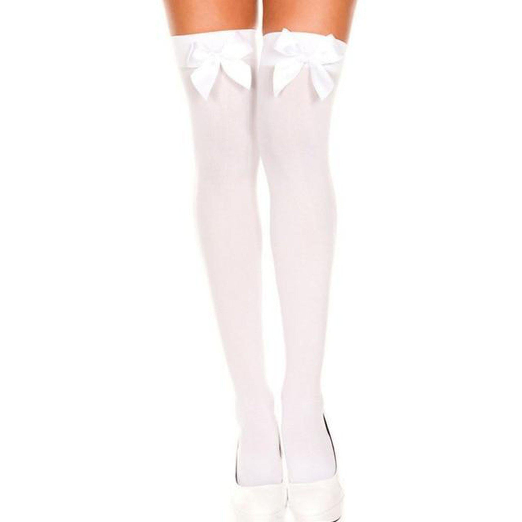 Sexy Bow Thigh High Stockings-Good Girl xox-White-buy-bdsm-bondage-gear-tools-toys-online-good-girl-xox
