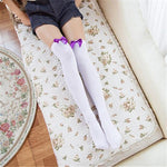 Sexy Bow Thigh High Stockings-Good Girl xox-White Purple-buy-bdsm-bondage-gear-tools-toys-online-good-girl-xox