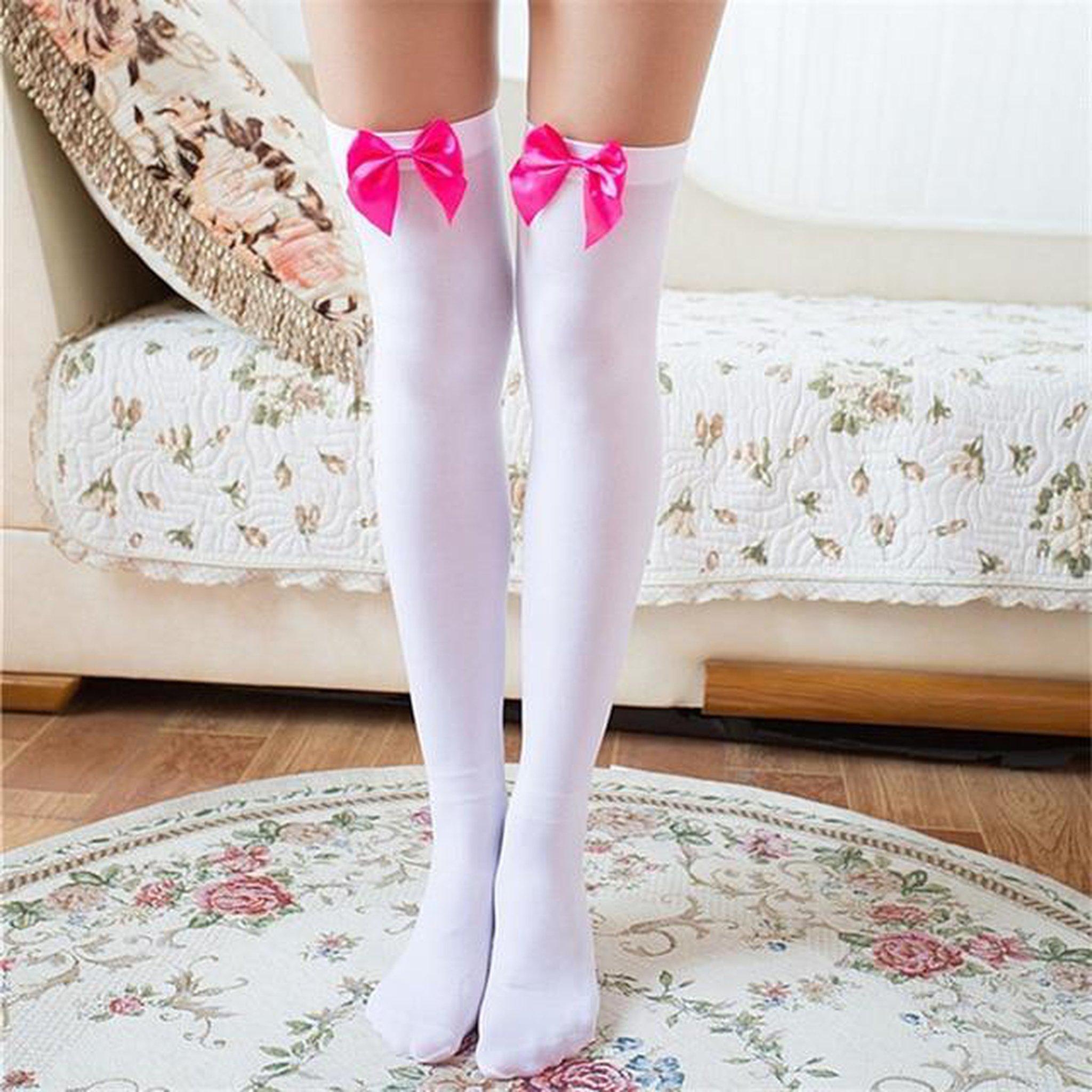 Sexy Bow Thigh High Stockings-Good Girl xox-White Rose Red-buy-bdsm-bondage-gear-tools-toys-online-good-girl-xox