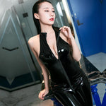 Sexy Wetlook PVC Leather Bodysuit With Gloves-Good Girl xox-Black-buy-bdsm-bondage-gear-tools-toys-online-good-girl-xox