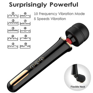 Super Powerful 5 Speed / 10 Frequency Vibration Wand-Good Girl xox-Black-buy-bdsm-bondage-gear-tools-toys-online-good-girl-xox