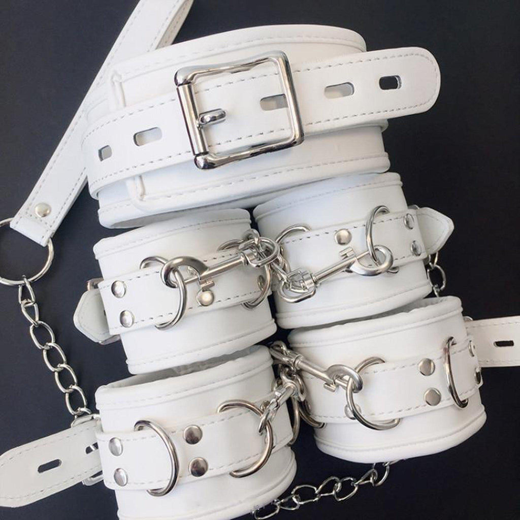White PU Leather Retro BDSM Kit-Good Girl xox-3pcs-buy-bdsm-bondage-gear-tools-toys-online-good-girl-xox