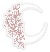 Pink/White Floral Moon Clear Vinyl Sticker, 3x2.8 in.