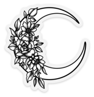 Black/White Floral Moon Clear Vinyl Sticker, 3x2.8 in.