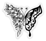 Black/White Floral Butterfly Clear Vinyl Sticker, 3x2.7 in.