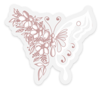 Pink/White Floral Butterfly Clear Vinyl Sticker, 3x2.7 in.