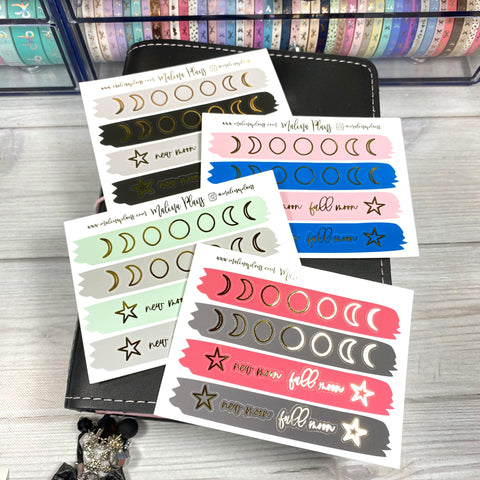 Foiled Moon Phase Sticker Sheet
