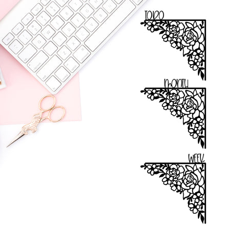 Floral Bow Corner Vinyl Decal- TO DO, MONTH, WEEK