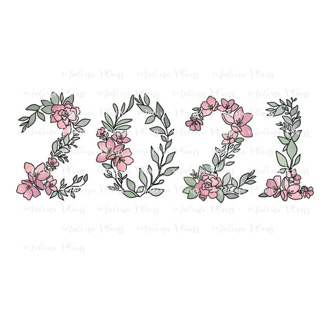 Floral 2021 Sticker Die Cut- Pink/Green