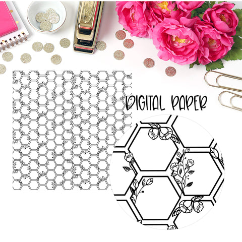 Floral Hexagon Digital Paper