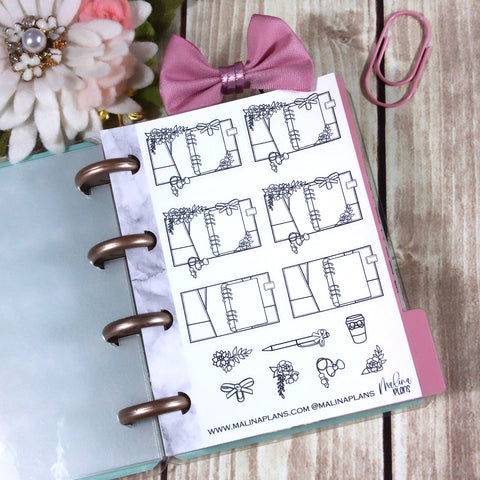 Micro HP Sticker Sheet- Planner Doodles
