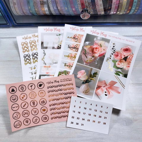Pink Roses Foiled Sticker Kit