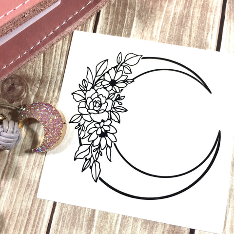 Floral Moon Vinyl Decal