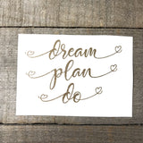 """Dream Plan Do"" Vinyl Decal- Stacked Heart Font"