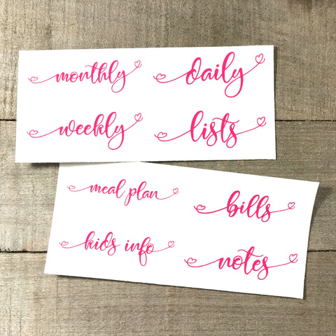 Vinyl Insert Labels- SET of 4