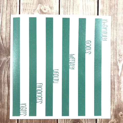 Vinyl Divider Tabs- SIDE Tabs- Straight Edge THIN FONT