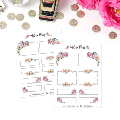 Romantic Florals Sticker Sheet- Boxes