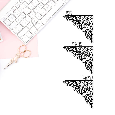 Floral Bow Corner Vinyl Decal- TODAY, LISTS, NOTES