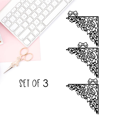 Floral Bow Corner Vinyl Decal- SET OF THREE BOWS