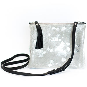 Silver Howhide Leather Crossbody