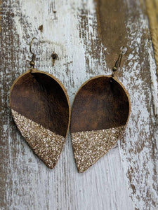 Brown Leather Dipped Glitter Earrings