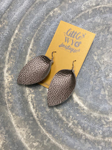 Pewter Pinched Leaf Leather Earrings