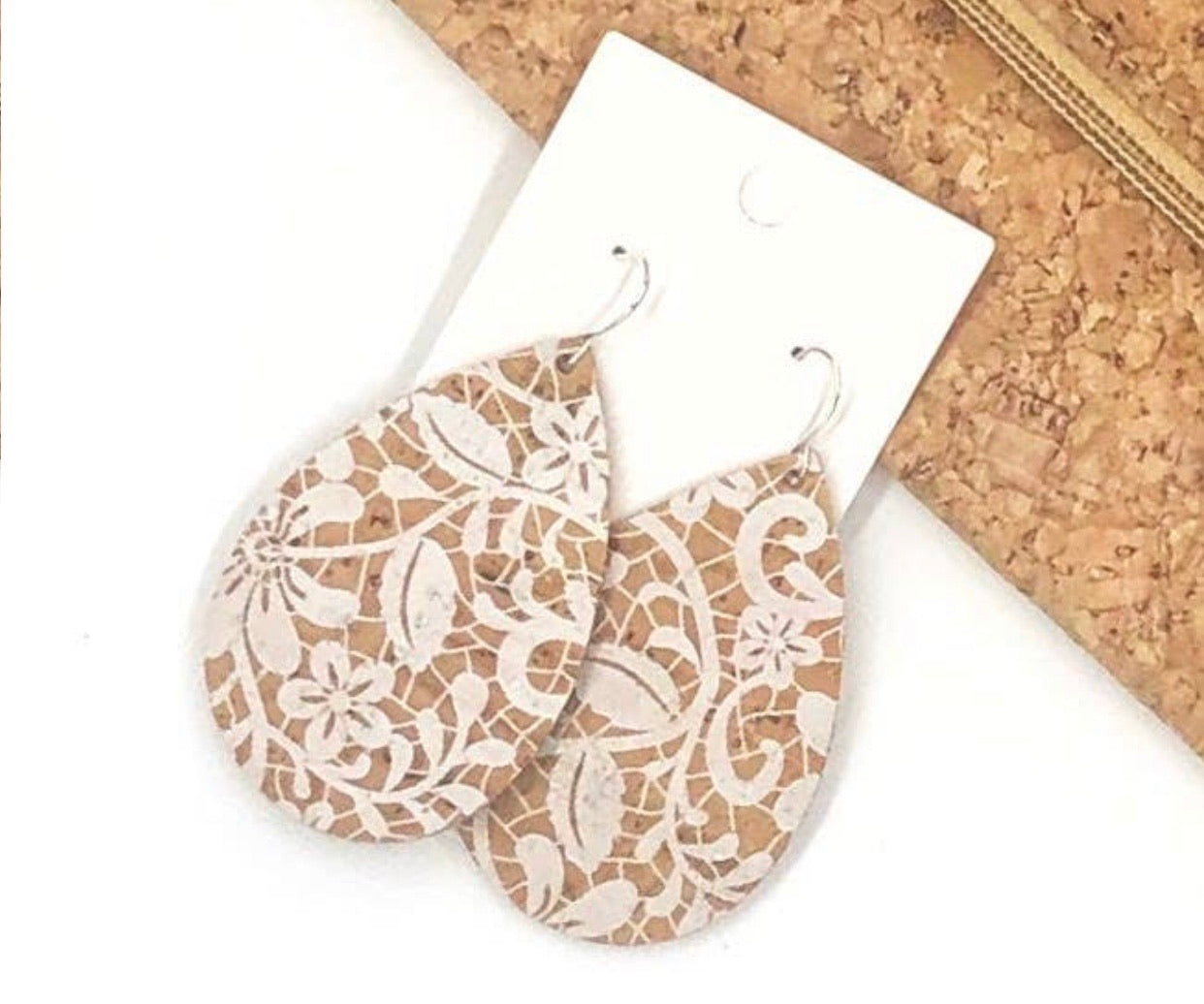 White Floral Cork/ Leather Earrings