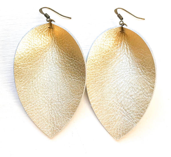 Pinched Leaf Vintage Gold Leather Earrings