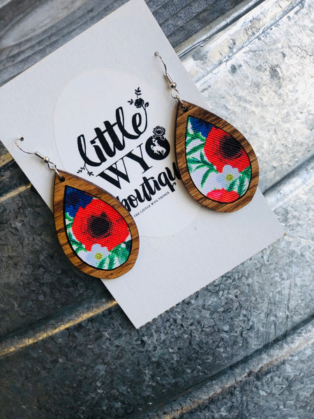 Floral and Wood Earrings