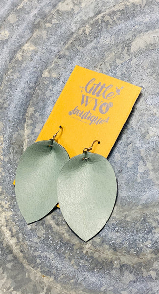 Distressed Robin Egg Blue Pinched Leaf Earrings