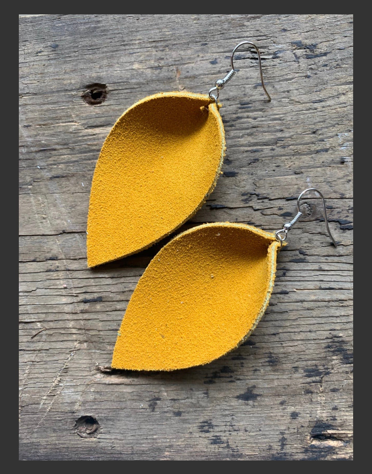 Mustard Suede Leather Earrings