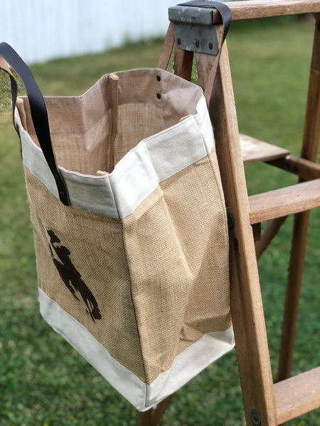 Laminated Jute & Leather Steamboat Tote