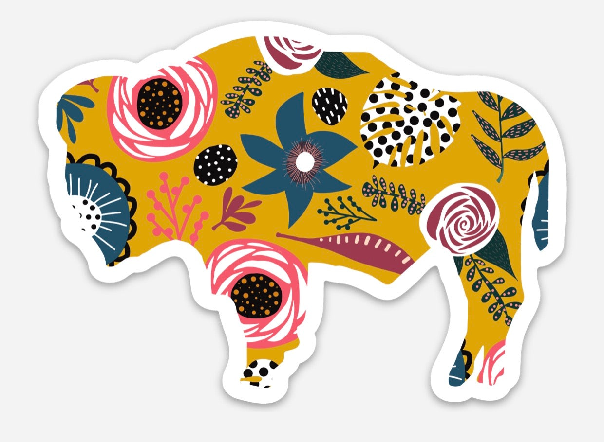 Mustard Floral Buffalo Die Cut Vinyl Decal