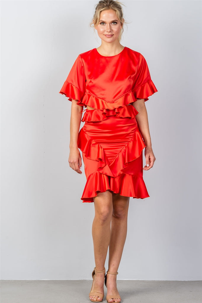 Neila cut-out ruffle mini red dress