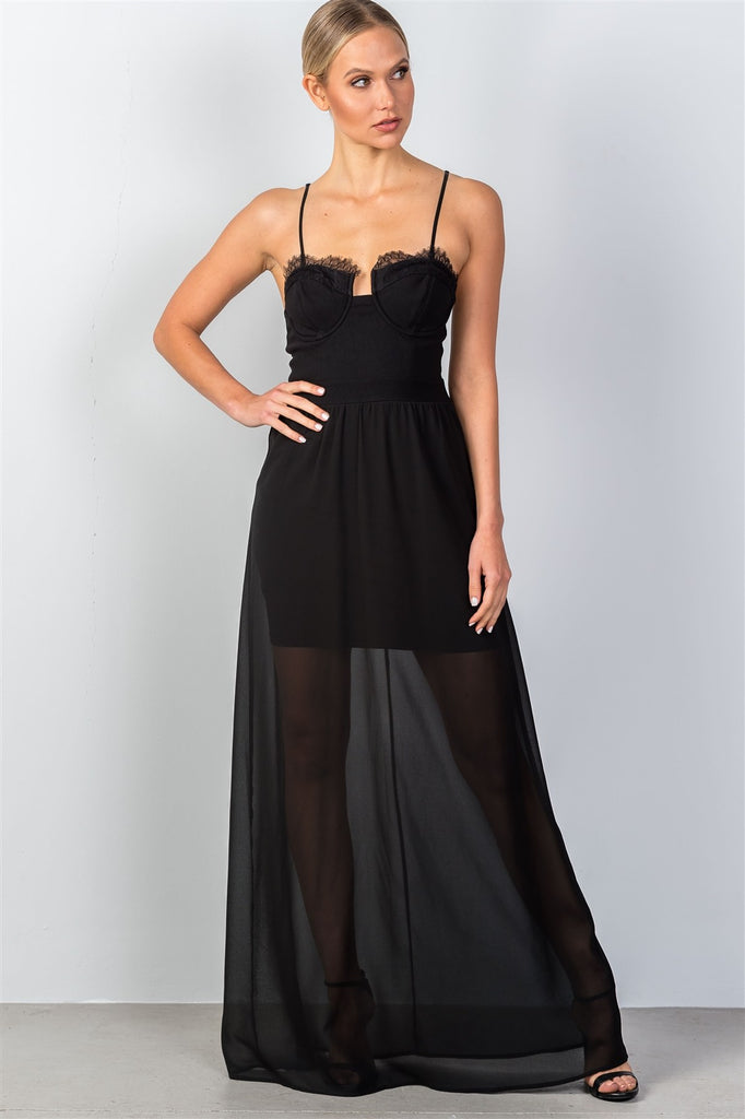 Lace trim bustier semi sheer maxi dress