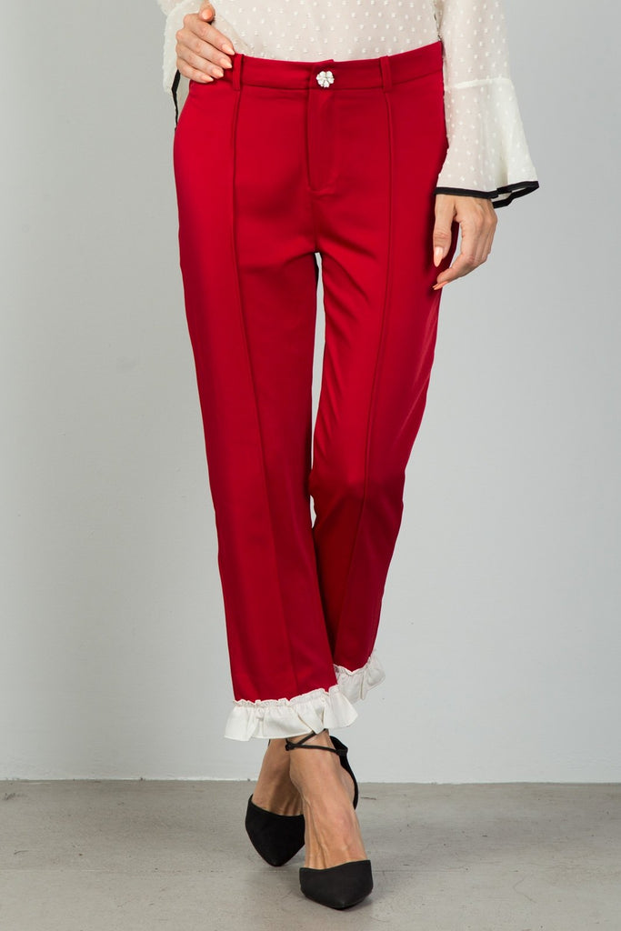 Ladies fashion red contrast ruffle hem ankle pants