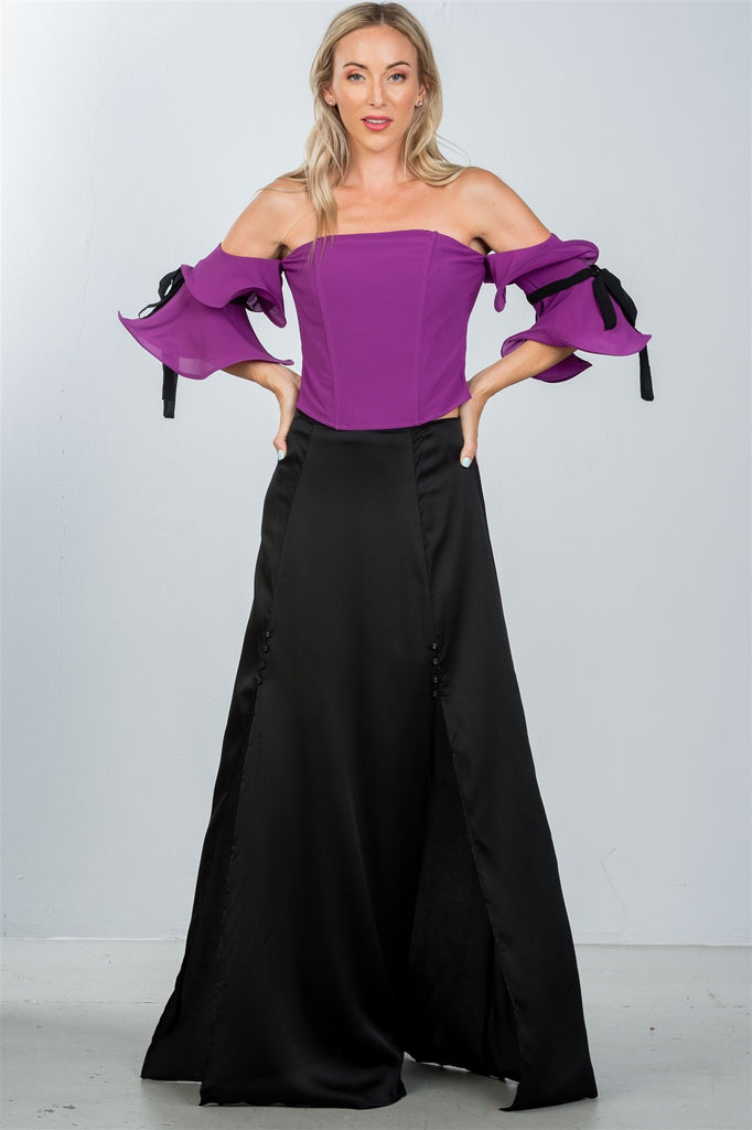Ladies fashion purple wired ruffle off the shoulder top
